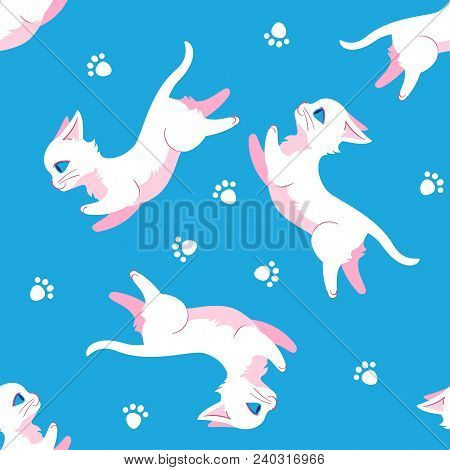 Seamless Pattern Design With White Leaping Cats And Paw Prints. Can Be Used As A Background, On Pack
