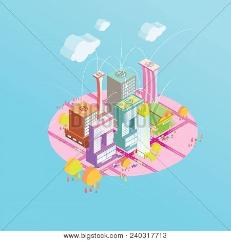 Bitcoin Concept Vector Illustration Of Concept And Network Of Connected Icons.business Financial Net