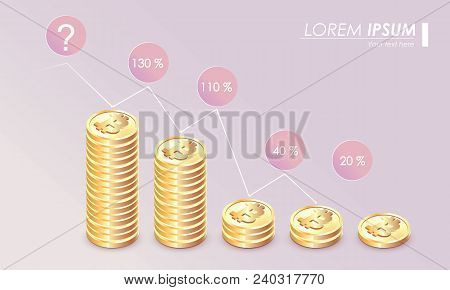 Bitcoin Illustration Growth Graph On Pastel Background. Bitcoin Crypto Currency Growth Chart Of The