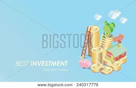 Full Color Bitcoin Concept Vector Illustration Of Home , Stair, Piggy Bank Savings And Making Invest