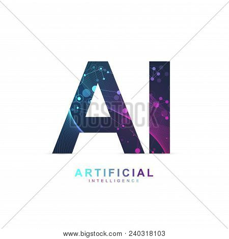 Artificial Intelligence Logo. Artificial Intelligence And Machine Learning Concept. Vector Symbol Ai