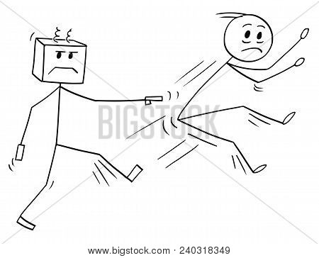 Cartoon Stick Man Drawing Conceptual Illustration Of Businessman Kicked And Fired From Job By His Ro