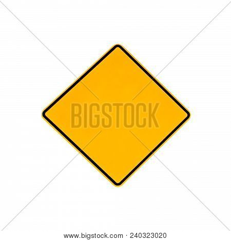 Australian Yellow Rhombus Warning Road Sign On The Road And Highways Of Australia. Isolated On White