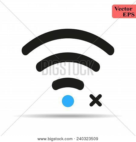 Wifi Icon With Not Allowed Sign. Wifi Icon And Block, Forbidden, Prohibit Concept. Vector Icon Eps 1
