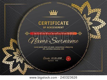 Official Black Certificate With Red Black Design Elements. Gold Emblem, Gold Text On The Black Circl