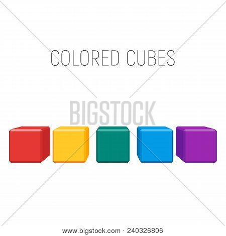 Colored Cubes In A Row. Geometric Shapes With Bevels. Vector Element For Business, Logo Or Other Des