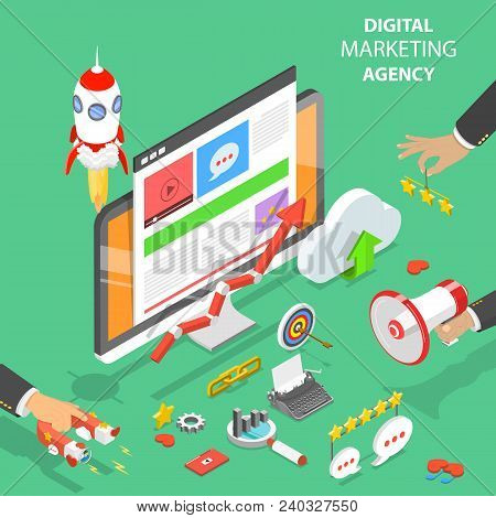 Digital Marketing Agency. Flat Isometric Vector Concept Of Social Network, Sem, Media Communication,