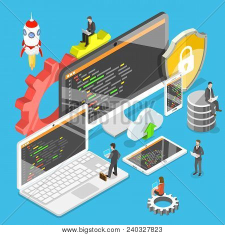 Flat Isometric Vector Concept Of Software Development, Teamwork, Brainstorm.