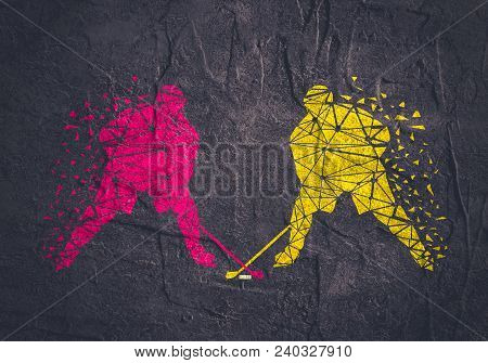 Professional Hockey Players. Two Silhouettes Textured By Lines And Dots Pattern.