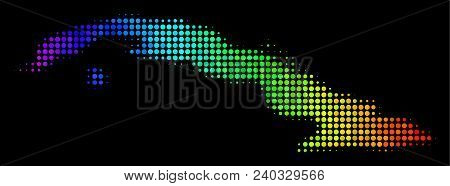 Pixel Cuba Map. Halftone Territory Plan In Spectrum Color Hues With Horizontal Gradient On A Black B
