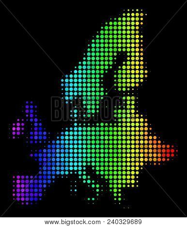 Dotted European Union Map. Halftone Territorial Plan In Rainbow Color Hues With Horizontal Gradient