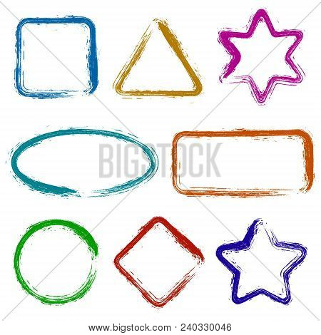 Set  Frames Isolated.  Vector Frames For Your Design. Distress Border Frame Collection . Set Of Vect