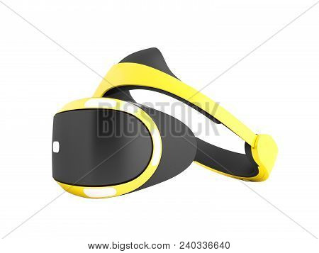 Modern Glasses Of Vertuality Of Reality For Consoles And Consoles And Watching Movies Yellow With Bl