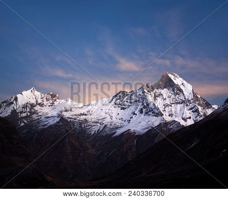 Panorama Of Mount Machapuchare (fishtail) At Sunset, View From Annapurna Base Camp In The Nepal Hima