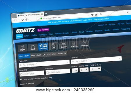 Novosibirsk, Russia - May 12, 2018 - Homepage Of The Official Website For Orbitz - The Travel And Ho