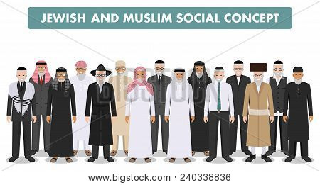 Different Standing Together Arab And Jewish Men In The Traditional Clothing Isolated On White Backgr