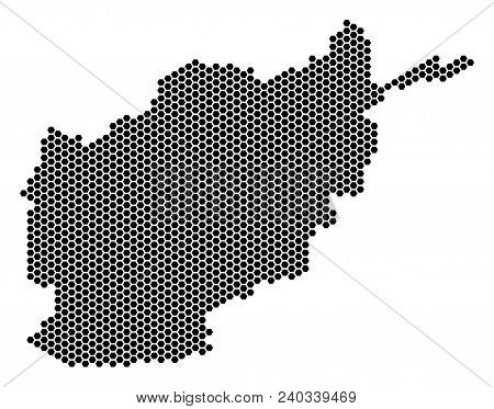 Hex Tile Afghanistan Map. Vector Territory Plan On A White Background. Abstract Afghanistan Map Comp