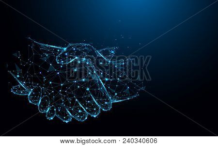 Business Handshake Lines And Triangles, Point Connecting Network On Blue Background. Illustration Ve