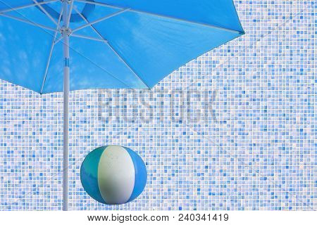 Blue parasol and ball mosaic wall copy space backdrop staycation theme indoors poster