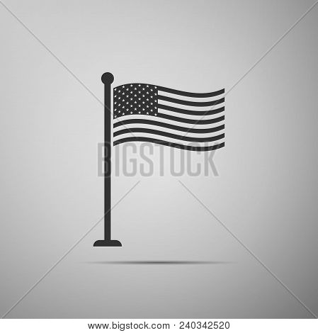 National Flag Of Usa On Flagpole Icon Isolated On Grey Background. American Flag Sign. Flat Design.