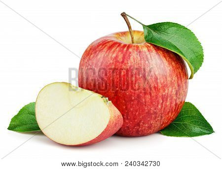 Ripe Red Apple Fruit With Apple Slice And Green Leaves Isolated On White Background. Red Apples And