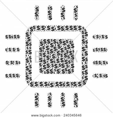 Processor Collage Of Dollars And Sphere Dots. Vector Banking Pictograms Are Organized Into Processor