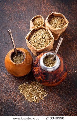 Yerba Mate Tea With Calabash And Bombilla.