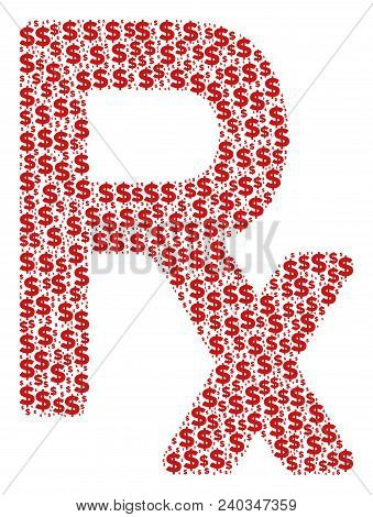 Rx Symbol Collage Of Dollar Symbols And Round Spots. Vector Dollar Signs Are Grouped Into Rx Symbol
