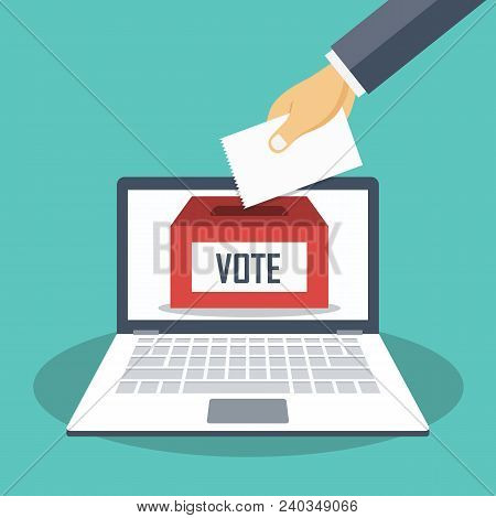 Hand Putting Voting Paper In The Ballot Box On A Laptop Screen. Voting Online Concept. Flat Vector I