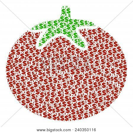 Tomato Vegetable Mosaic Of Dollars And Circle Spots. Vector Banking Symbols Are Composed Into Tomato