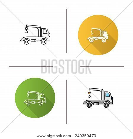Tow Truck Icon. Flat Design, Linear And Color Styles. Evacuator. Car Wrecker. Isolated Vector Illust