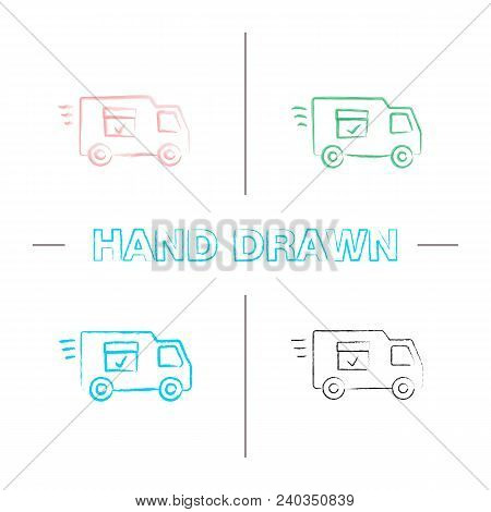 Delivery Van With Checkmark Hand Drawn Icons Set. Fast Shipping Color Brush Stroke. Freight Transpor
