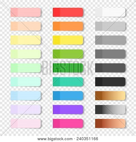 Set Of Vector Paper Bookmarks On Transparent Background. Colored Realistic Sticky Notes Isolated. Bi