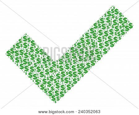 Yes Collage Of Dollars And Round Dots. Vector Dollar Currency Pictograms Are Combined Into Yes Compo