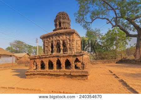 Stone Chariot Of Bishnupur, West Bengal , India. A Famous Small Double Storied Structure Built On La
