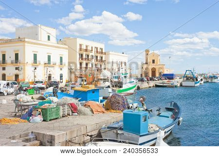 Gallipoli, Apulia, Italy - Fishing Boats At The Seaport Of Gallipoli