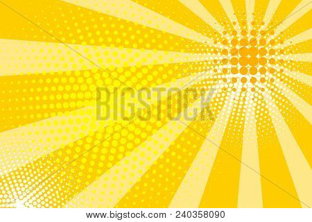 Sunny Yellow Cartoon Banner With Rays And Dots, Flyer, Abstract Summer Comic Pop Art Background. - V