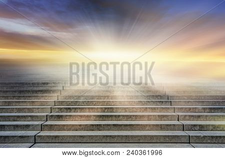 Steps Leading Up To The Sun.  Way To God .  Bright Light From Heaven .  Religious Background   . Sun
