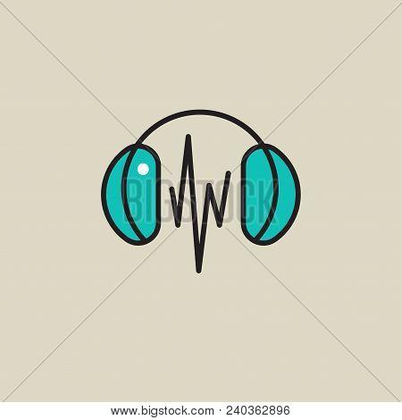 Headphones Icon, Music, Music Wave Vector Stock