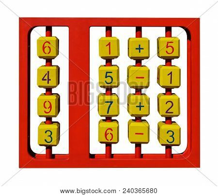 Cubes with numbers and arithmetic signs are in red frame. Isolated on white background poster