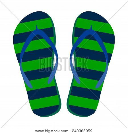 Flip Flops Isolate On A White Background. Slippers Icon. Colored Flip Flops Green Dark Blue Striped