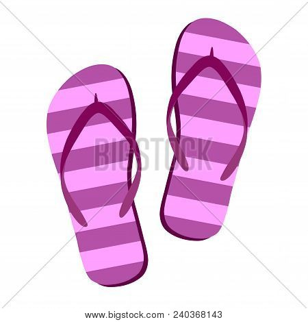 Flip Flops Isolate On A White Background. Slippers Icon. Colored Flip Flops Pink, Purple Striped On