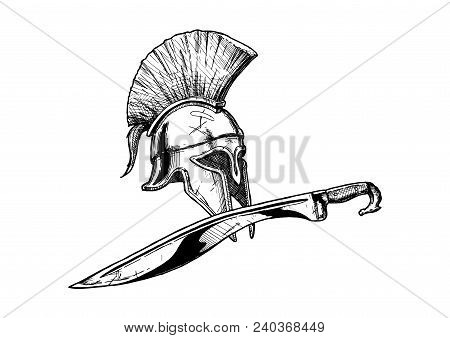 Ancient Greek Corinthian helmet and kopis sword - hoplite equipment.  Vector hand drawn illustration in vintage engraved style. Isolated on white background. poster