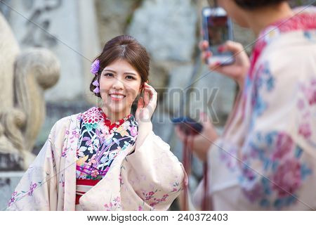 Kyoto, Japan - November 25, 2016 Women Wearing Kimono Tradition Japanese Style At Kiyomizu, Kyoto, J