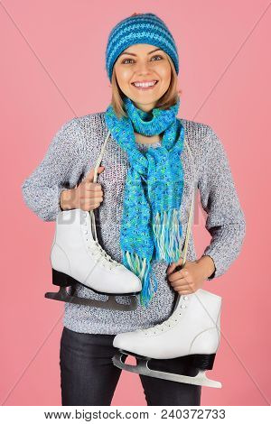 Winter Fashion, Sport Style. Smile Woman Skater With Figure Skates In Hat, Scarf And Sweater. Vacati