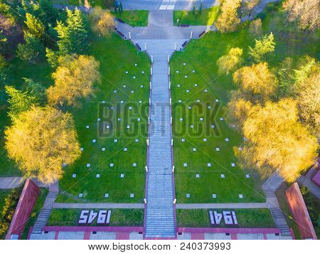 Drone View Of Stairs, Lawn And Park Of Zavokzalnyy Memorial Complex In Sunny Day, Sochi, Russia
