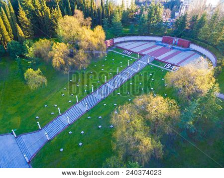 Drone View Of Stairs, Park And Square With Eternal Flame Of Zavokzalnyy Memorial Complex, Sochi, Rus