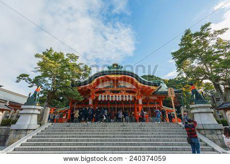 Kyoto, Japan - November 25, 2016 Fushimi Inari Temple With Clouds And Blue Sky At Kyoto, Japan. Attr