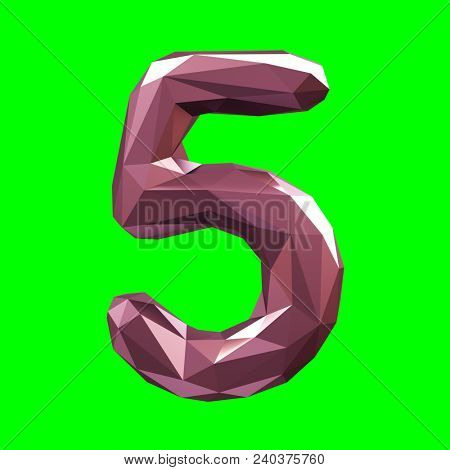 Number 5 five in low poly style isolated on green background. 3d rendering