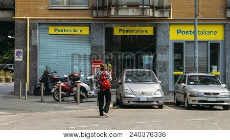 Milan, Italy - May 13th, 2018: Poste Italiane Branch. Besides Providing Core Postal Services, Poste